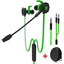 [Sponsored] Wired Gaming Earphone with Adjustable Mic for PS4, Laptop Computer, Cellphone, maxin E-sport Earburds with Portable Earphone Bags, Snug Soft Design, Inline Controls for Hands-free Calling ( Green )