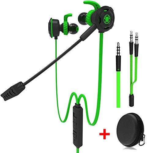 (Wired Gaming Earphone with Adjustable Mic for PS4, Laptop Computer, Cellphone, maxin E-Sport Earburds with Portable Earphone Bags, Snug Soft Design, Inline Controls for Hands-Free Calling (Green))