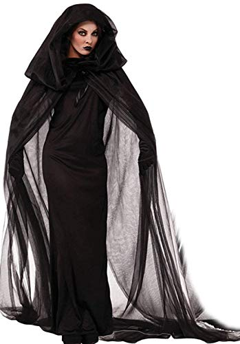 NonEcho Women Black Witch Halloween Costume for Adults 2PC Cloak Hooded Dress (XX-Large)