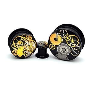 nugroho_mys Pair Black Acrylic Steampunk Watch Parts Plugs gauges