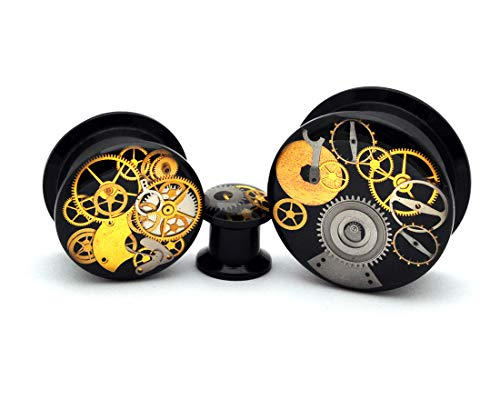 nugroho_mys Pair Black Acrylic Steampunk Watch Parts Plugs gauges
