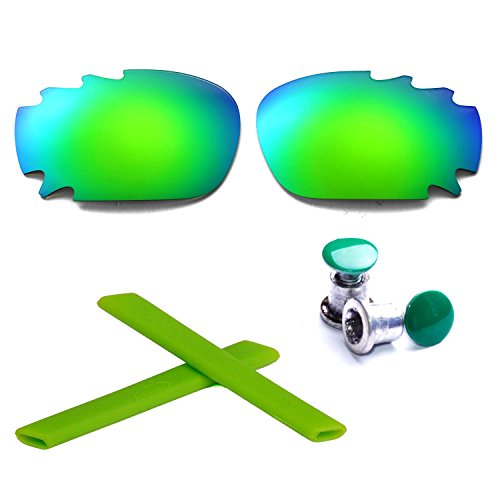 Walleva Polarized Emerald Vented Lenses +Emerald Earsocks +Bolt for Oakley Racing Jacket