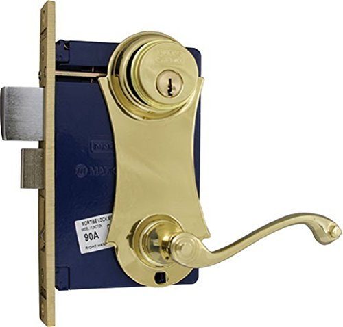 MARKS LOCK ORNAMENT 9215AC/3 UNILOCK LEVER/PLATE MORTISE LOCK FOR SECURITY DOOR / STORM DOOR POLISHED BRASS (Left Hand)