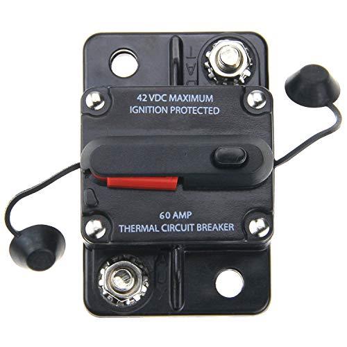 ZOOKOTO Circuit Breaker 60 Amp,Car Automotive Marine Boat Audio Circuit Breaker with Manual Reset, 12V- 42VDC, Waterproof (60A)