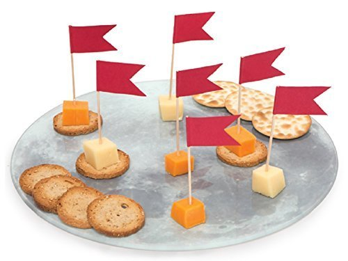 Glass Moon Appetizer Platter with 20 Flag Picks by Wink ()