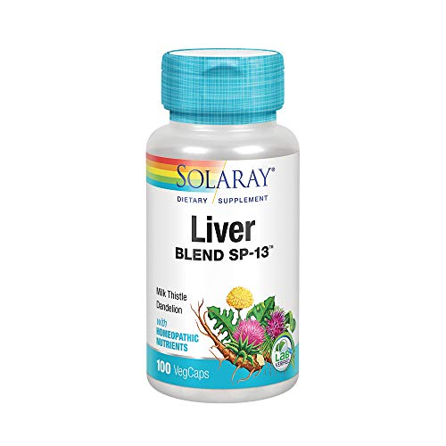 Solaray Liver Blend SP-13 | Healthy Liver & Kidney Support with Milk Thistle, Dandelion, Artichoke Leaf, Kelp, Peppermint Aerial & More | 100 VegCaps