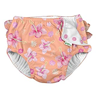 i play. by green sprouts baby girls Ruffle Snap Reusable Absorbent Swimsuit and Toddler Swim Diaper, Coral Hibiscus, 24mo US
