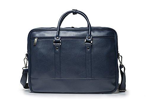 Solier para hombre piel bandolera para portátil Macbook Premium bolsa S04 marrón azul marino