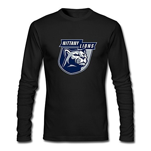 RUIFENG Men's Penn State University Psu College Football Nittany Lions Logo Long Sleeve T-shirt Size L Black