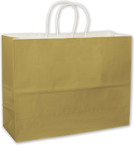 Solid Color Pattern Shopping Bags - Metallic Gold High Gloss Paper Shoppers, 16 x 6 x 12 1/2 (250 Bags) - BOWS-264-160612-15
