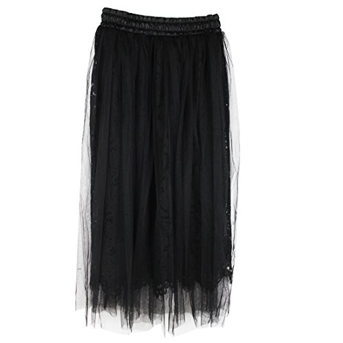 JET-BOND Lace Long Tulle Skirts FS36 Tutu Pleated Tiered Full Tunic Skirt for Ladies Girl (Free size, Black)