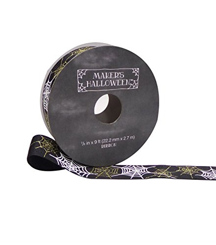 Makers Halloween Ribbon 7/8''x 9' Gold & White Spider Web on Black