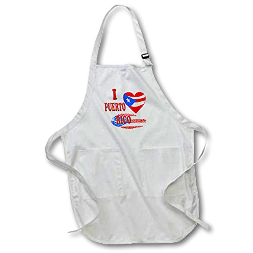 3dRose I Love Puerto Rico. Puerto Rican Flag. Popular Saying. - Full Length Apron, 22 by 30-Inch, White, with Pockets (apr_216433_1) -