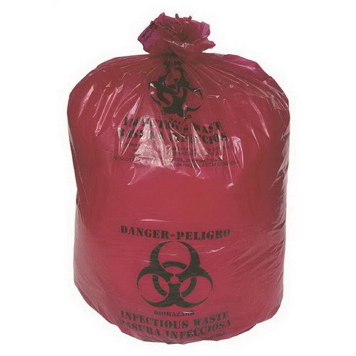 (Berry Plastics Hospi-Tuff Infectious Waste Flat LLDPE Can Liner Red, 40-45 gal, 40