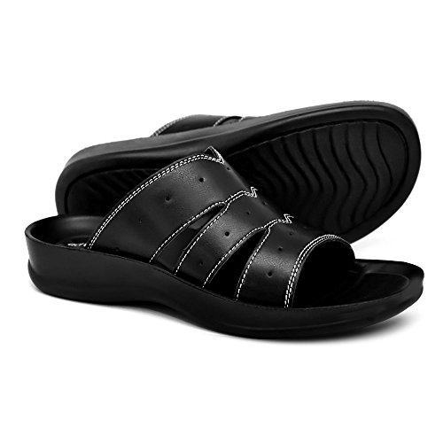 AEROTHOTIC Orthotic Comfort Slip On Sandals and Flip Flops with Arch Support for Comfortable Walk (US Women 8, Ivy Black) -