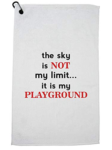 Hollywood Thread The Sky is Not My Limit It is My Playground Skydiving Golf Towel with Carabiner Clip by Hollywood Thread