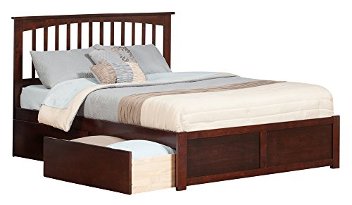 Mission Flat Panel Foot Board with 2 Urban Bed Drawers, Quee