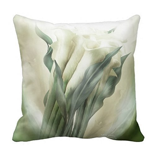 Lilies Calla Bordered (KarilShop White Calla Lilies Art Decorator Linen Throw Pillow Case Cushion Cover Home Sofa Decorative 18 X 18 Inch.)
