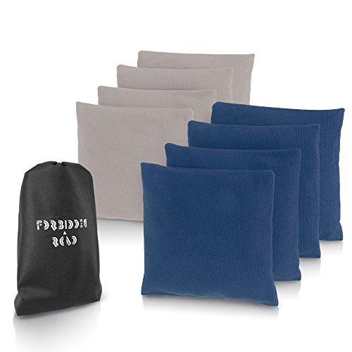 Forbidden Road Cornhole Bag Bean Bags Pack of 8 for Tossing Core Hole Games with Duck Canvas Material Cover and PP Plastic Pellets Inside - Free Carrying Bag Included (Royal blue & Gray, 14OZ)