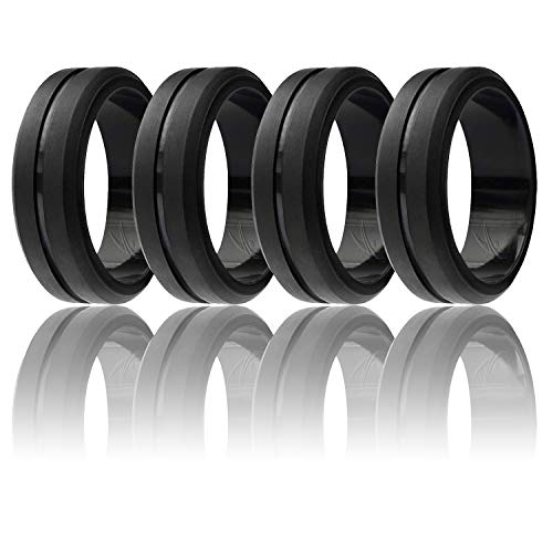 Ring for Men, Set of 4 Elegant, Affordable Silicone Rubber Wedding Bands, Brushed Top Beveled Edges -4 Pack Black - Size 14 ()