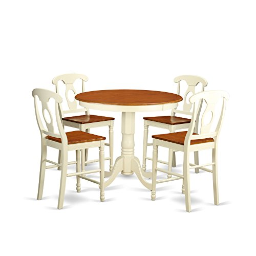 East West Furniture JAKE5-WHI-W 5 Piece Table and 4 Counter Height Stool Set