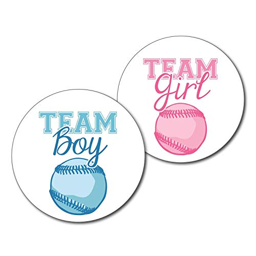36 2.5 inch Baseball Team Gender Reveal Party Stickers