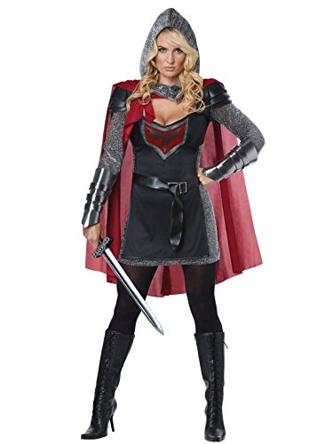 California Costumes Women's Valorous Knight Adult Woman Costume, Black/red, Extra Large