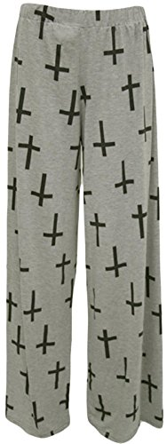Led pantalons Plus parallles Femmes Grey 36 Size vase palazzo imprims pantalon Large Cross 54 aASawxI5q