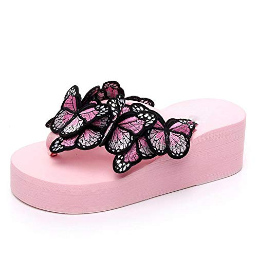 (Peony red Woman Slippers Lady Fashion Casual Beach Flip-Flops Sandals 2019 Summer Butterfly Sexy High Heel Slippers Home Slippers Women,Pink 2,39.5)