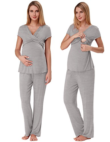 Super Soft Ruched Nursing Set Practical Maternity PJs for Hospital Grey XL ZE45-2
