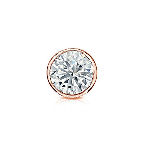 14k Rose Gold Bezel-set Round Diamond Men SINGLE STUD Earring - And 2 Carat Studs H Si2 Diamond 1