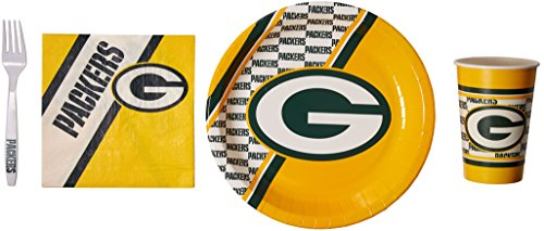 NFL Green Bay Packers Party Packs with Forks/Plates/Cups/Napkins (Serves 20)