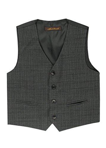 Alberto Danelli Boy's 4 Button Formal Vest Suit Set, Medium Grey, -