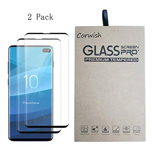 (2 Pack of Galaxy S10 Plus Screen Protector, 3D Curved Case Friendly Full Coverage Saver Tempered Glass Clear Film Protective Cover for Samsung Phone S10+ (not for S 10 and S 10e))