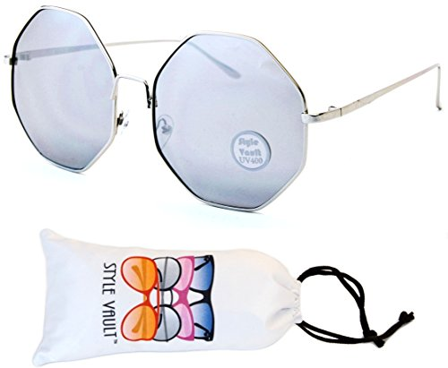 V158-vp Style Vault Octagon Round Sunglasses (S3366V Silver-Silver Mirror, - 70s Style Glasses