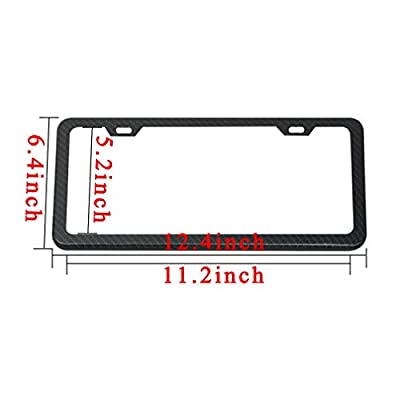 Ibetter 2 PCS Thick Slim Carbon Fiber License Plate Frames, Car Licence Plate Holder Covers with Bolts, Washers and Screw Caps for US Standard (2 Holes Carbon Fiber Slim): Automotive