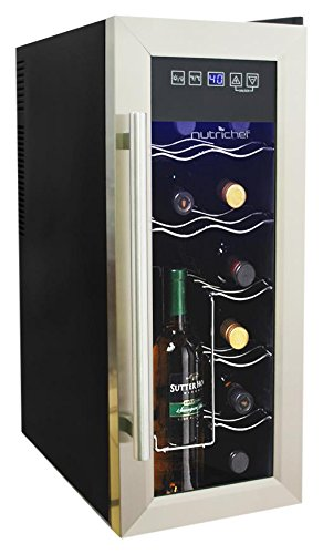 NutriChef 12 Bottle Thermoelectric Wine Cooler / Chiller | Counter Top Red And White Wine Cellar | FreeStanding Refrigerator, Quiet Operation Fridge | Stainless Steel PKTEWC12