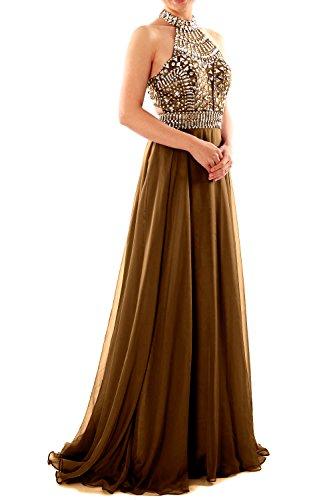 MACloth Women Halter High Neck Sleeveless Long Prom Party Dress Evening Gown Marrón