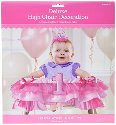 amscan 1st Birthday Deluxe High Chair Decoration - Pink