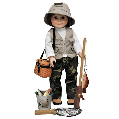 The Queen's Treasures 18 Inch Doll Clothes,Hiking Boot Shoes,and Accessories sized to fit American Girl,Fishing Set Includes Camo Pants,Shirt,Hat, Vest, and Hiking Boots Plus Pole and More!