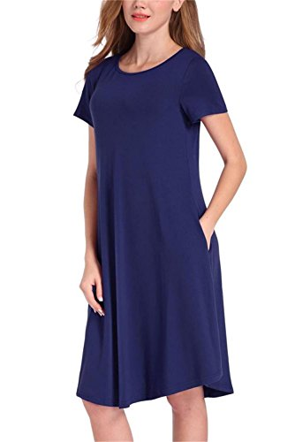 Green Cotton Dress - NELIUYA Women's Summer Plain Simple Pocket T-shirt Loose Casual Midi Dress (X-Large, Royal Blue)