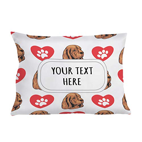 Style In Print Personalized Pillow Case Sussex Spaniel Dog Heart Paws Polyester Pillow Cover 20INx28IN Custom Text Here Set of - Two Sussex Light Bath