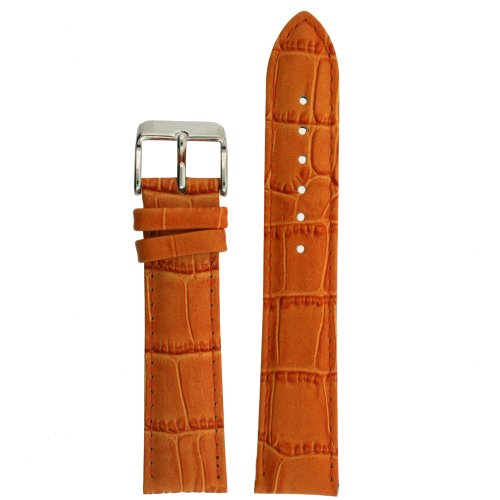 (Watch Band Orange Genuine Leather Crocodile Grain 20 millimeter Tech Swiss )