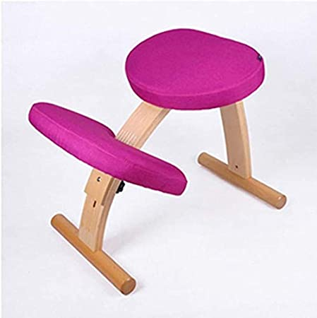HJJK Me Medio ajustable ergonómica Silla de oficina, tela de lino de Estudiantes contra la joroba silla de rodilla Niño correctiva Postura silla ortopédica heces Relieving Volver (Color: Púrpura), Col