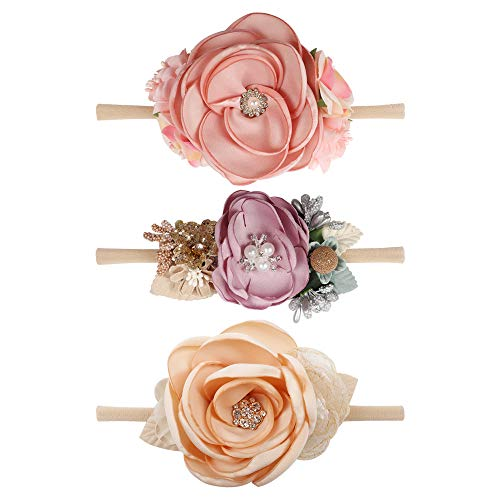 Baby Girl Flower Nylon Headband-Elastic Hair Band Handmade Bow For Newborn Infant Toddler Pack of 3]()