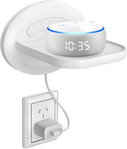 MATONE Small Wall Shelf, Wall Mount Shelves for Google WiFi, Smart Home Speakers & Cellphones, Clever Charging Shelf with Cord Arrangement, Small Space Solutions for Anything Up to 15lbs