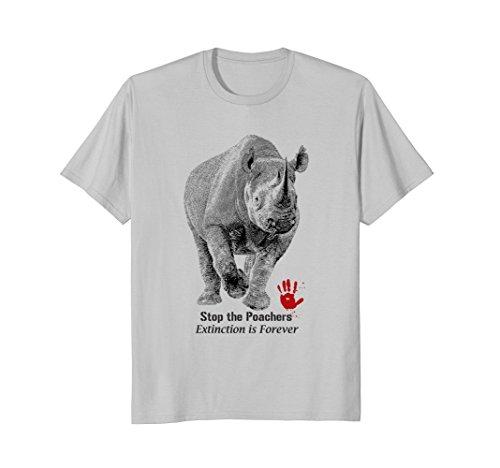 Mens Black Rhino Anti-poaching T-shirt for Rhino Supporters. Large Silver (Silver Rhino)