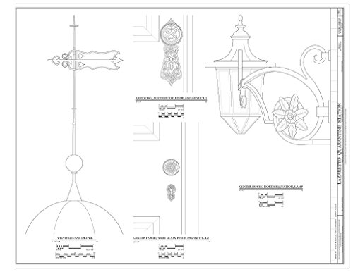 historic pictoric Structural Drawing Weathervane, Door Knobs and Lamp Details. - Lazaretto Quarantine Station, Wanamaker Avenue and East Second Street, Essington, Delaware County, PA 55in x 44in (Lamp Weathervane)