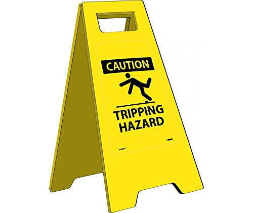 National Marker HDFS212''Caution Tripping Hazard'' Heavy Duty Floor Sign, 24.63'' x 10.75''