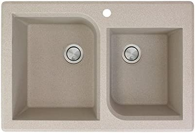 Transolid RTDO3322-16 Radius 33.0625-in x 22.0625-in x 9.5 Granite 1-3 4 Offset Double Drop-in Kitchen Sink with 1 Pre-Drilled Faucet Hole, Cafe Latte